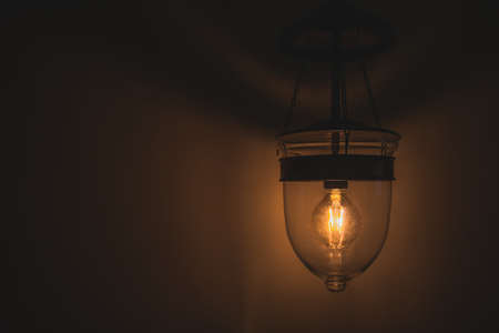 Stock Photo   Vintage Tone, Old Retro Edison Light Bulb With Dim Light Great Pictures