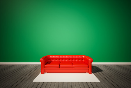 white wood floor: Green wall and dark wood floor, with red sofa and white carpet, 3d renderd Stock Photo