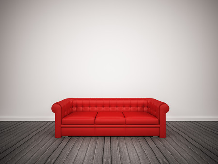 classic living room: Red classic sofa in living room, 3d rendered