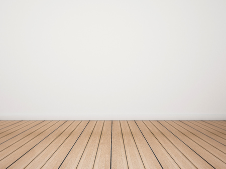 Oak wood floor with white wall