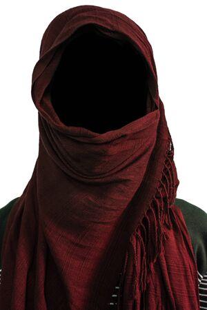 veils: Faceless under maroon veils, isolated on white background Stock Photo