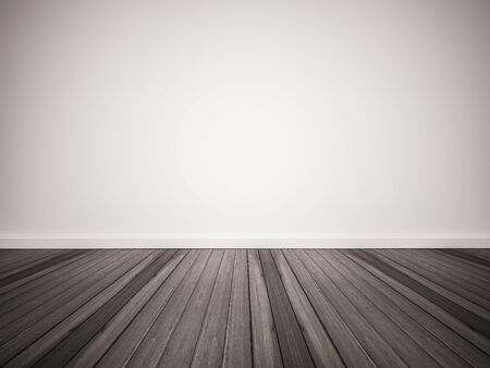 Dark wood floor with white wall Standard-Bild