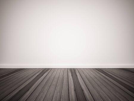 Dark wood floor with white wall Foto de archivo