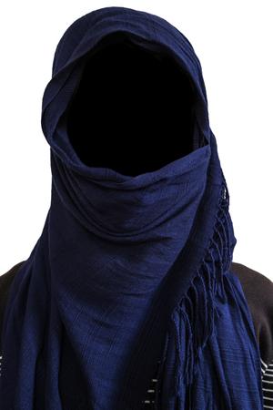 veils: Faceless man under dark blue veils, isolated on white background