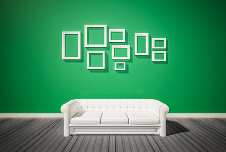 white wood floor: Green wall and dark wood floor, with white sofa and photo frames on wall, 3d renderd