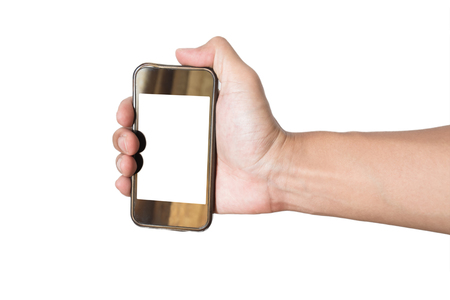 grasp: Hand grasp old smartphone,isolated on white background
