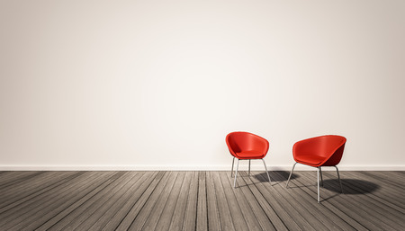 Hardwood floor and white wall, with red chairs, 3d rendered Foto de archivo