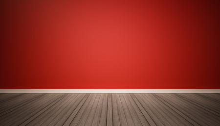 on wood floor: Red wall and dark wood floor