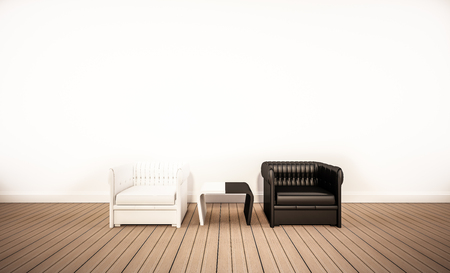 Eichenholzboden und weiße Wand, mit Kontrast Schwarz-Weiß-Sessel, 3D gerendert