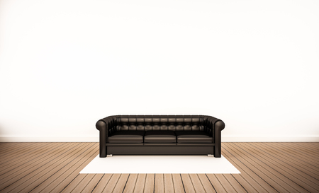 white wood floor: Oak wood floor and white wall, with black leather sofa, 3d rendered