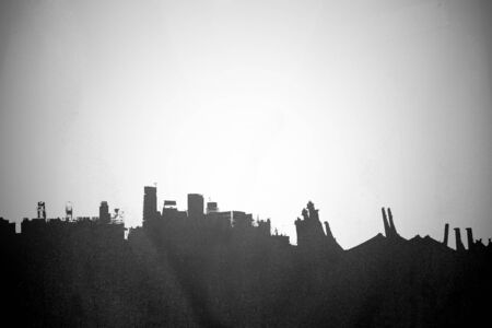 ghost town: Silhouette old deserted town, black and white Stock Photo
