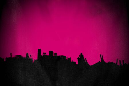 ghost town: Silhouette old deserted town, with pink background Stock Photo