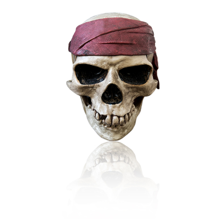 Skull wearing maroon bandanna, isolated on white background
