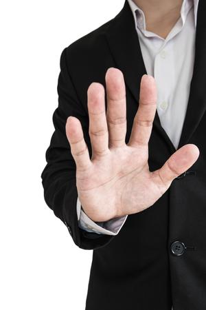 Imprenditore mostrando palmo della mano, il concetto di negazione