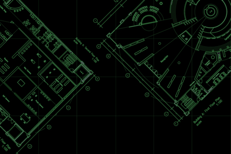 Architecture drawings layout floor plan, with grid lines and empty space Foto de archivo