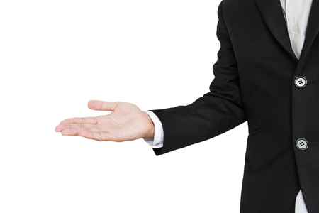extending: Businessman extending hand, presenting something, isolated on white background