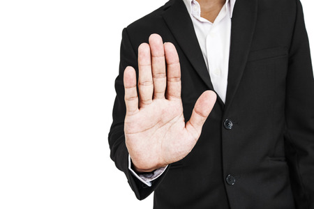Businessman showing palm hand, concept of denial