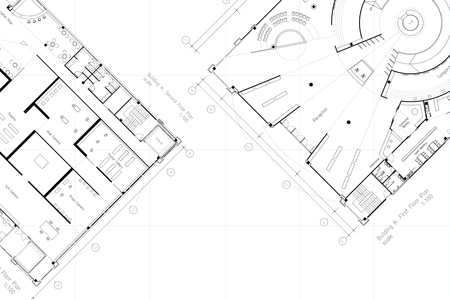floor plan: Architectural layout floor plan, with grid lines and empty space