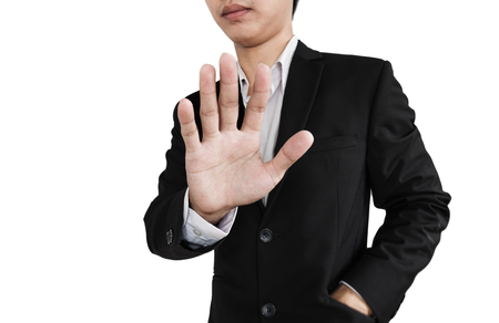 denial: Businessman showing palm hand, denial concept, isolated on white background