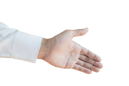 Extend: Extend hand with white lone sleeve, isolated on white background