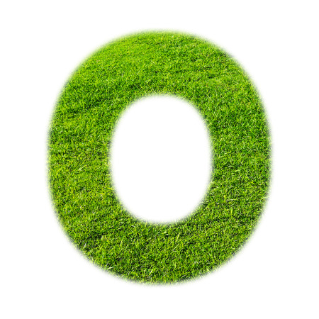 cocao: O uppercase alphabet made of grass texture, isolated on white