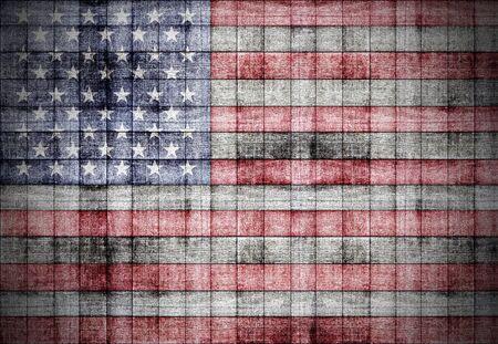 painted wood: America flag painted on old square blocks wood texture
