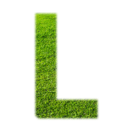 l background: L uppercase alphabet made of grass texture, isolated on white background