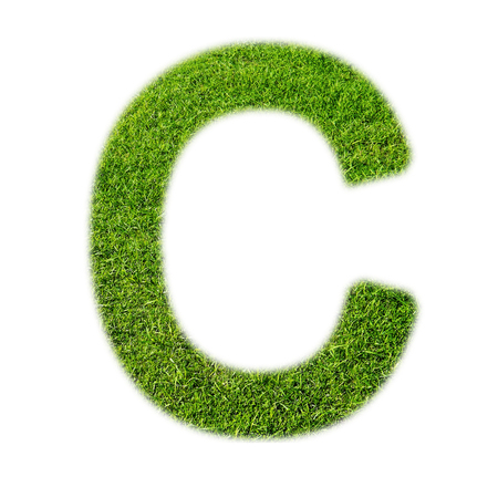 grass texture: C uppercase alphabet made of grass texture, isolated on white background
