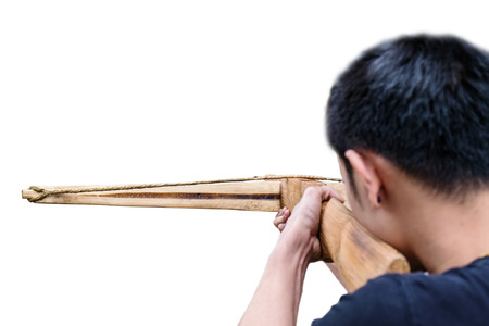 crossbow: a man aimed crossbow, isolated on white background Stock Photo