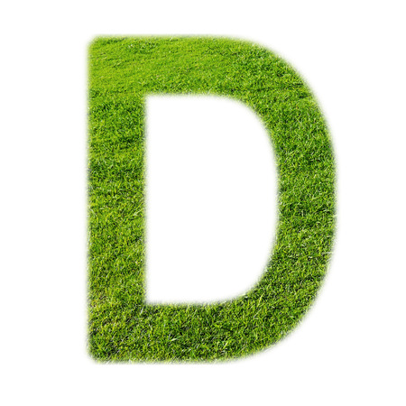 d: D uppercase alphabet made of grass texture, isolated on white background Stock Photo