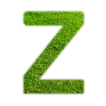 grass texture: Z uppercase alphabet made of grass texture, isolated on white background