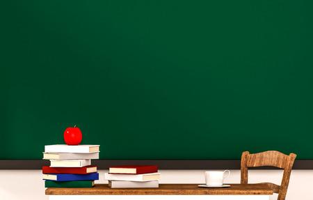 silla de madera: Aula, los libros, la manzana, la taza de café, mesa, silla y pizarra verde, con copia espacio, 3d rindió Foto de archivo