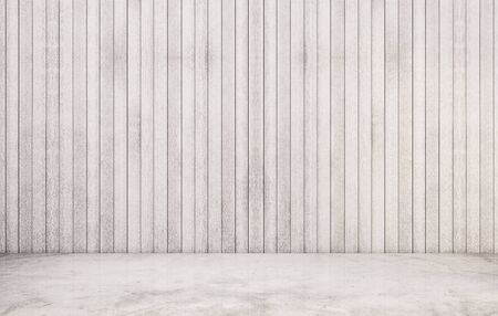 polished floor: White polished concrete floor with wood wall Stock Photo