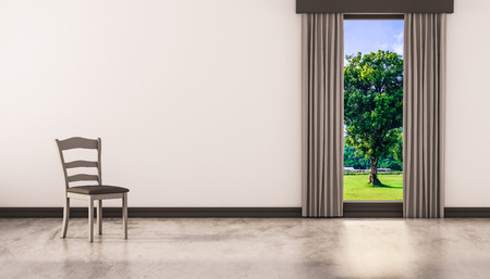 polished floor: A chair on concrete polished floor with window and a tree natural view on white wall, 3d rendered