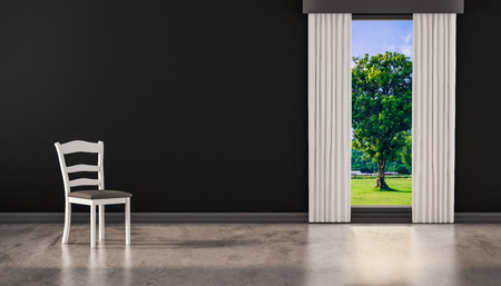 polished floor: A chair on concrete polished floor with window and a tree natural view on black wall, 3d rendered Stock Photo