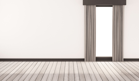 window curtains: white wood floor with white wall and window with curtains, 3d rendered