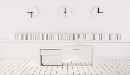 timezone: Minimalist working space with three different time zone clocks on wall, 3d rendered Stock Photo