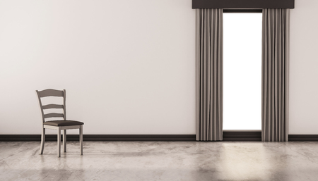 polished: A chair on concrete polished floor with white wall and isolated window, 3d rendered Stock Photo