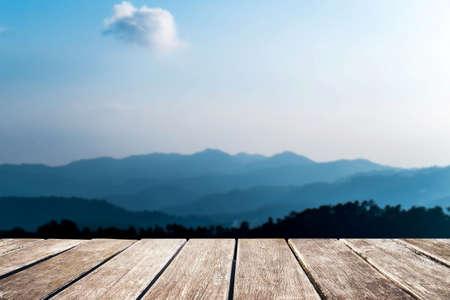 de focus: Wooden pier with de focus mountains view