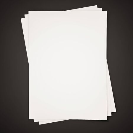 stack of paper: Papers on black background, 3d rendered Stock Photo