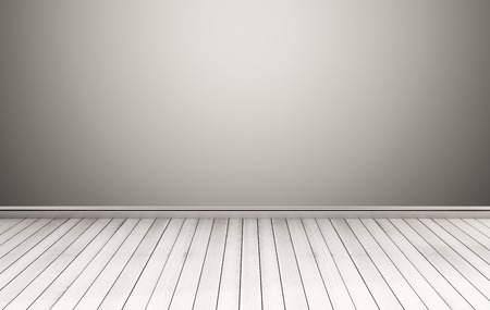 white wood floor: White wood floor with gray wall Stock Photo
