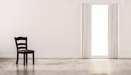 白い壁と孤立したウィンドウ、3 d レンダリングされた洗練されたコンクリートの床に椅子