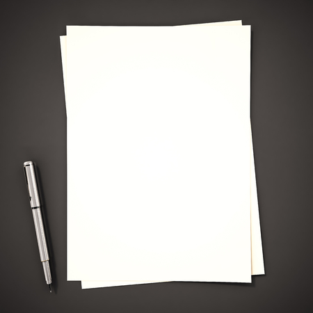 blank space: Papers with pen on black background, 3d rendered