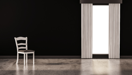 polished floor: A chair on concrete polished floor with black wall and isolated window, 3d rendered