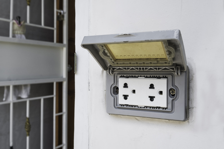 plug socket: Outdoor plug socket with covering opened Stock Photo