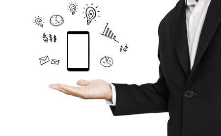 useful: Smartphone on hand with copy space, with useful of smartphone drawings, isolated on white background
