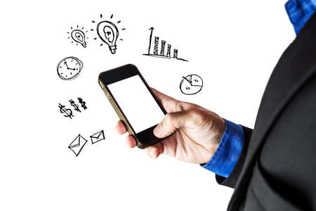 new account: Businessman using smart phone with copy space, isolated on white background