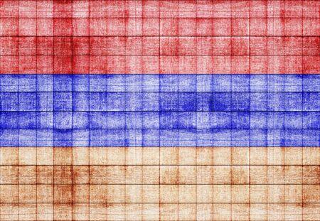 painted wood: Armenia flag painted on old square blocks wood texture