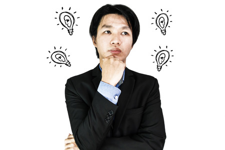 business mind: Asian businessman thinking with ideas bulb, isolated on white background