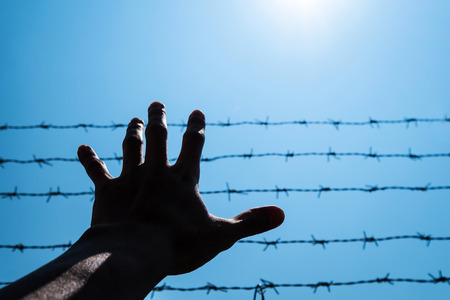 emanation: Silhouette hand extending to blue sky with barbwire and sunlight